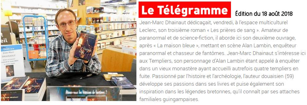 Jean-Marc Dhainaut en dédicace à L'espace Culturel de Guingamp pour son troisième roman Les Prières de sang.
