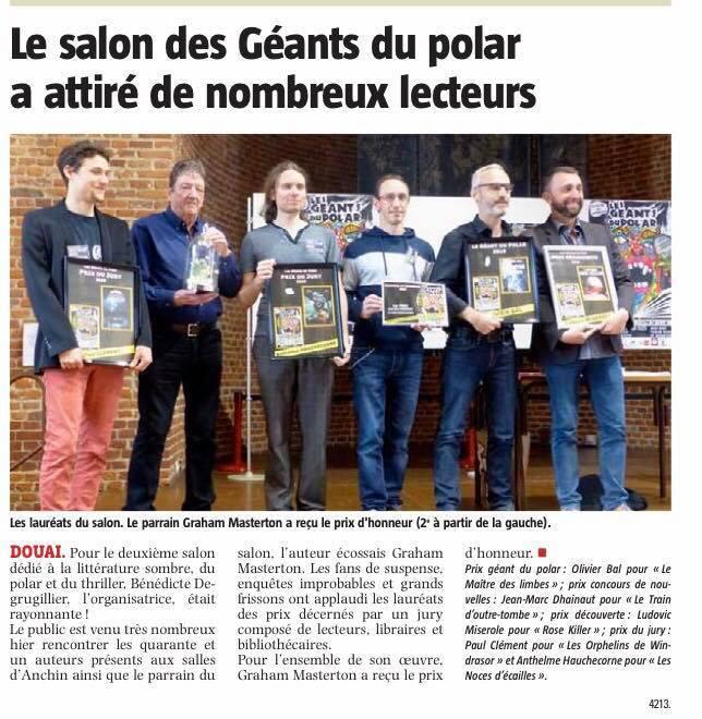 .Lauréats des Géants du Polar de Douai. Avec Graham Masterton